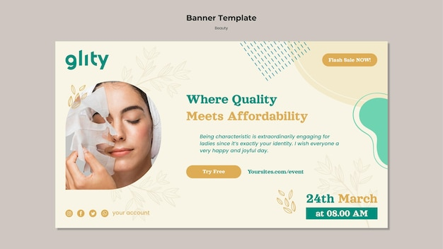 Modello di banner per prodotti per la cura della pelle
