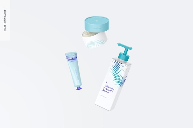 Skin care products scene mockup, falling