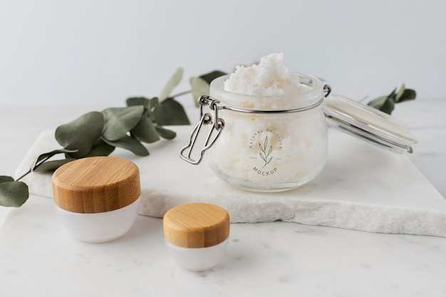 Skin care shea butter in jar mock-up
