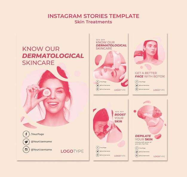 Modello di storie di instagram di concetto di trattamento della pelle
