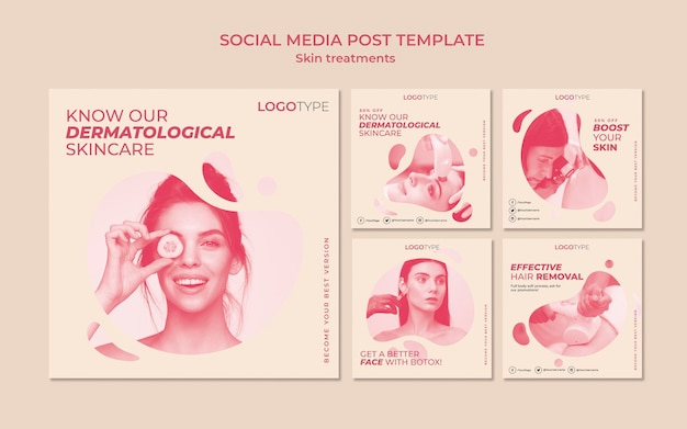 Skin treatment concept social media post template