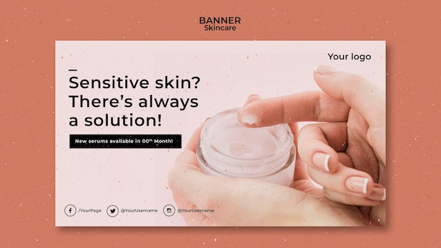 Skincare banner template with photo