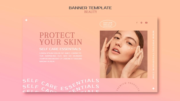 Skincare products banner template