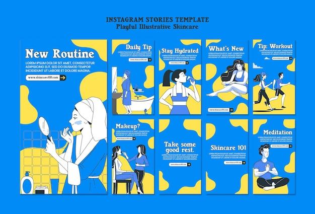Modello di storie di instagram di routine per la cura della pelle