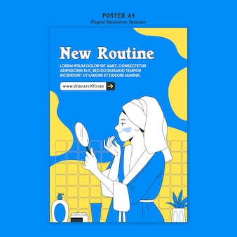 Skincare routine poster template