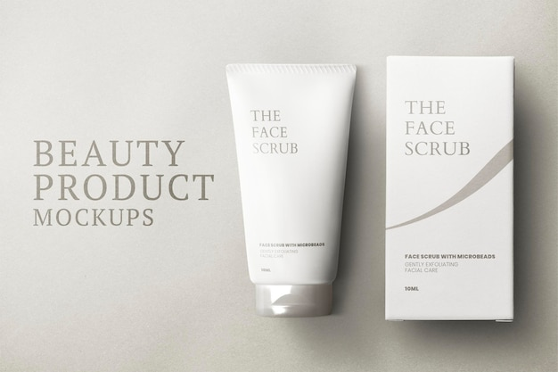 Skincare tube mockup psd with packaging box for beauty brands