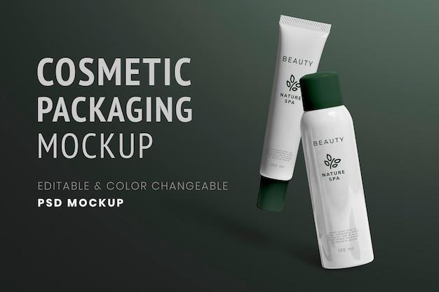 Mockup spray per tubo per la cura della pelle psd per marchi di bellezza biologici