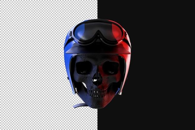 빈티지 레이싱 헬멧에 해골입니다. 3d 렌더링 프리미엄 PSD 파일
