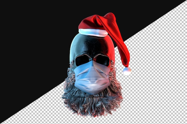 Skull of santa claus in a face mask. pandemic concept. 3d rendering