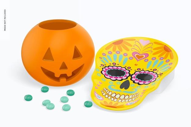 Мокап пластины в форме черепа с конфетами