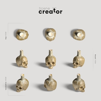 Skull with candle variety of angles halloween scene creator