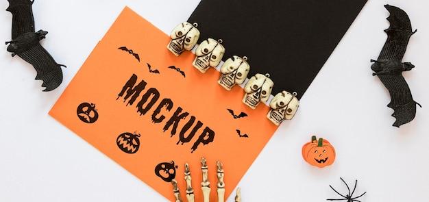 Skulls and bats spooky arrangement