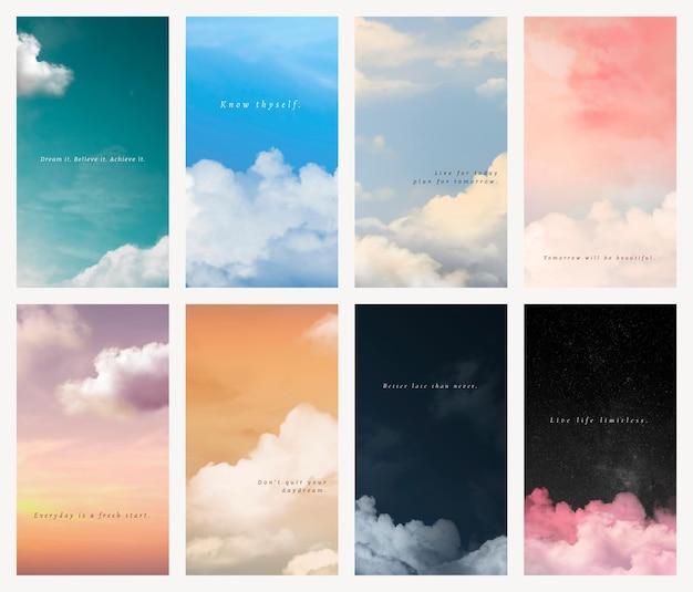 Modello di carta da parati mobile psd cielo e nuvole con set di citazioni ispiratrici
