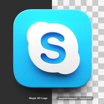 Skype 앱 절연 둥근 모서리 사각형 디자인 자산에 3d 스타일 아이콘 로고