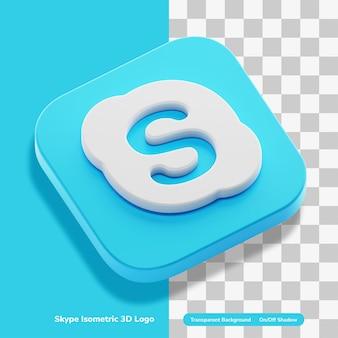 Skype 화상 통화 앱 계정 3d 렌더링 아이소 메트릭 절연 로고 아이콘 개념
