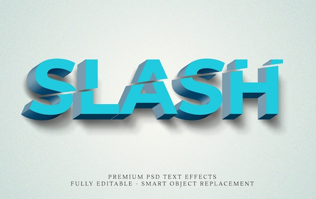 Slash 3d text style effect
