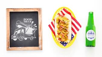Slate board mockup with hot dog