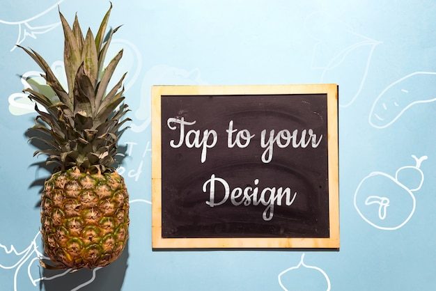 Slate chalk board template menu with pineapple on blue