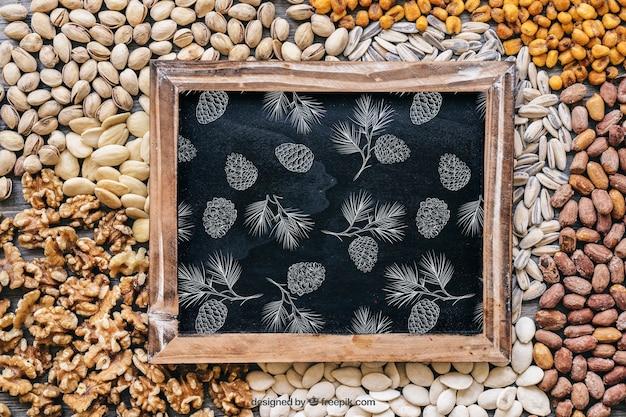 Шиферный макет на орехах