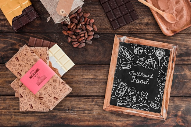Slate mockup with chocolate concept