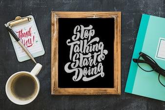 Slate mockup with coffee and notepad
