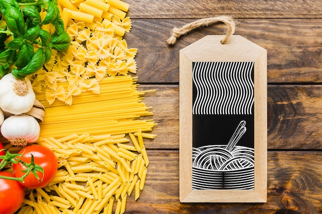 Slate mockup with delicious pasta concept