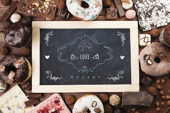 Slate mockup with delicious pastry