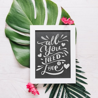 Slate mockup with floral valentines day concept