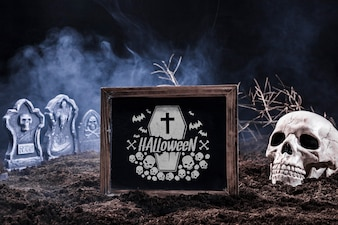 Slate mockup with halloween concept