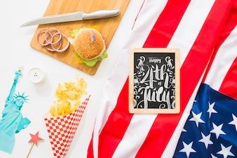 Slate mockup with hamburger
