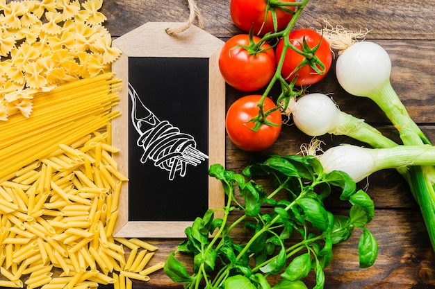 Slate mockup with healthy pasta concept