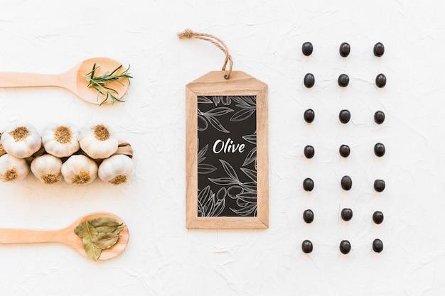 Шиферный макет с концепцией оливкового масла
