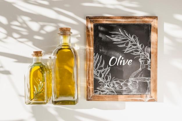 Slate mockup with olive oil concept