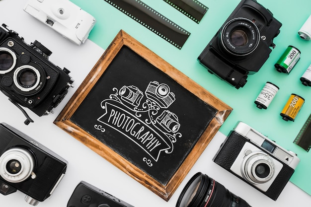 Slate mockup with photography concept