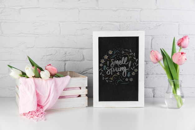 Slate mockup with spring concept