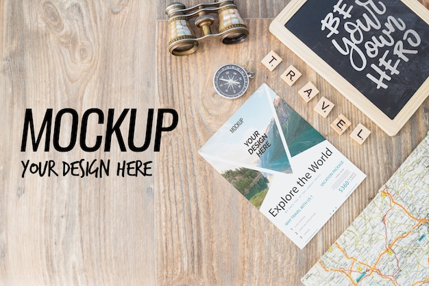 Slate mockup with travel elements