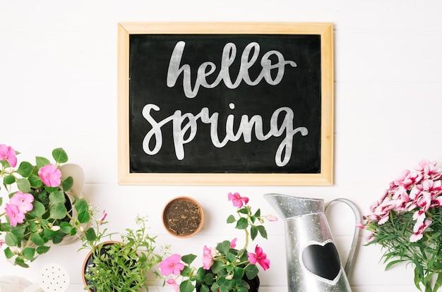 花と春のスレートテンプレート