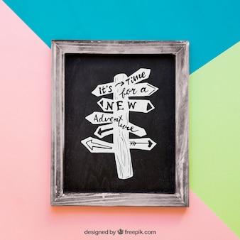 Slate with wooden border mockup