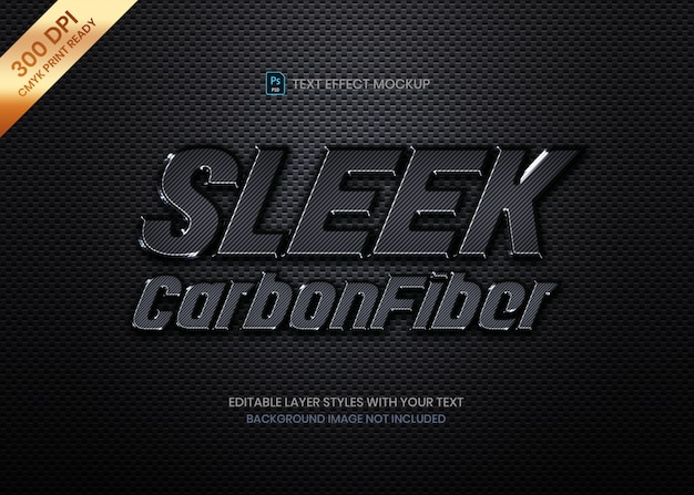 Sleek carbon fiber material logo text effect psd template.