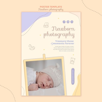 Sleeping baby poster stationery template
