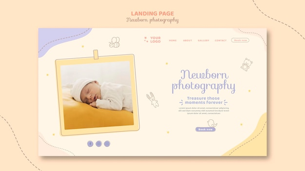 Sleeping baby wearing white clothes landing page