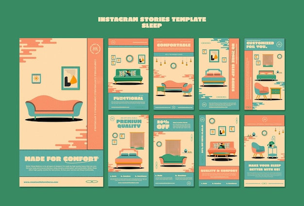 Modello di storie di instagram di mobili per dormire