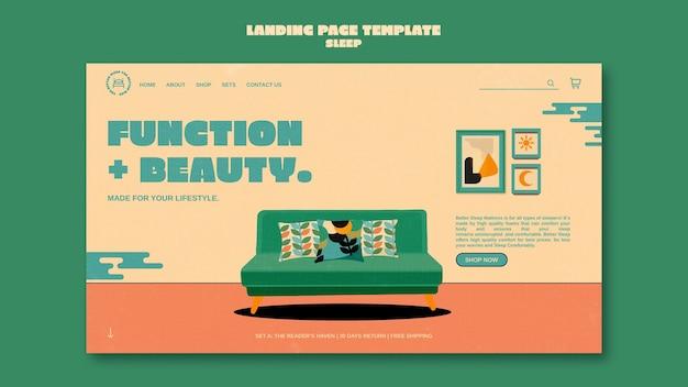 Sleeping furniture landing page design template
