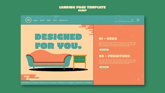 Modello di progettazione della pagina di destinazione dei mobili per dormire