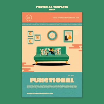 Sleeping furniture poster design template