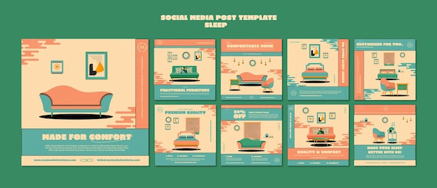 Sleeping furniture social media post template