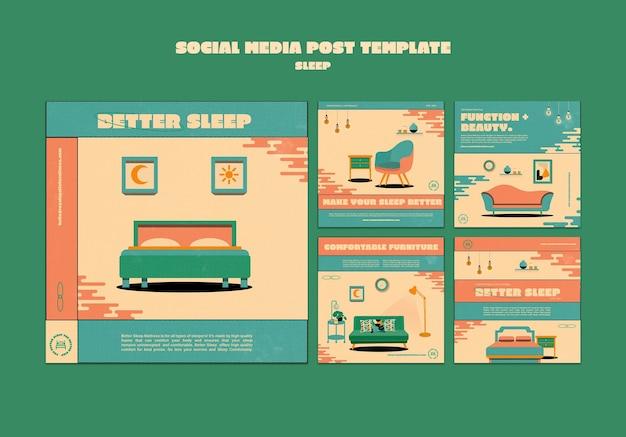 寝室の家具ソーシャルメディア投稿テンプレート