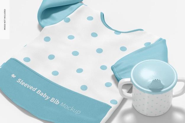 Sleeved baby bib mockup, close up