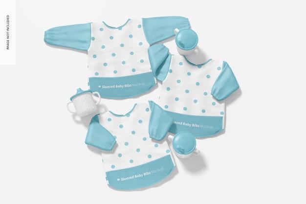 Sleeved baby bibs mockup