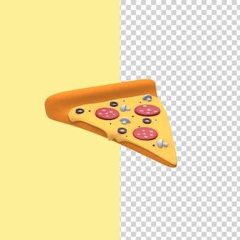 サラミ、マッシュルーム、オリーブを添えたピザのスライス。 3dレンダリングモデルは黄色の背景を分離しました。